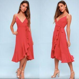 Lulu's Manhattan Moment Ruffled Midi Wrap Dress